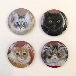 Magneti ritratti di gatti lucidi Durante Illustrations