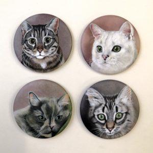 Magneti ritratti di gatti opachi Durante Illustrations