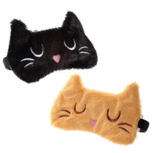 Mascherina per occhi da notte a forma di gatto rosso e nero
