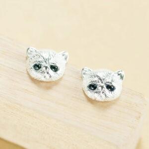 Orecchini a lobo d'argento musetto gattino persiano