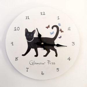 Orologio da muro con gattina nera