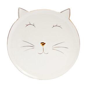 Piattino in ceramica a forma di musetto di gatto