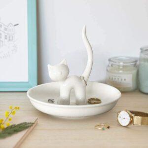 Porta anelli in ceramica gattino bianco