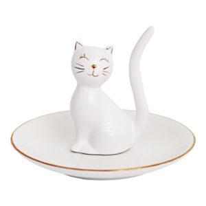Porta anelli in ceramica bianca con gatto