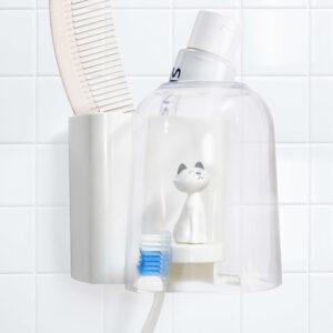 Porta spazzolini da denti gattino bianco