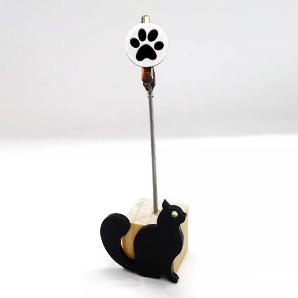 Portafoto a clip con gatto nero e zampa bianca e nera in plexiglass