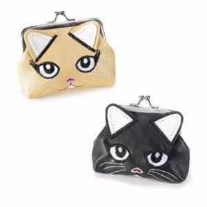Portamonete a clip in ecopelle a forma di musetto di gattina