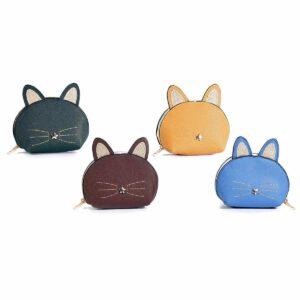 Portamonete colorato a forma di musetto di gatto