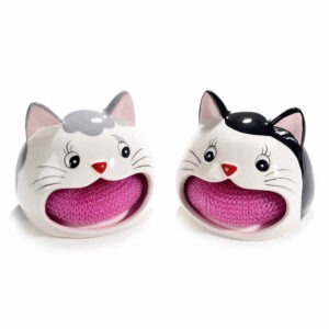 Portaspugna in ceramica a forma di musetto di gatto