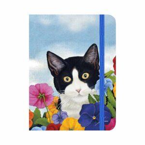 Quadernetto in stile moleskine con gatto bianco e nero