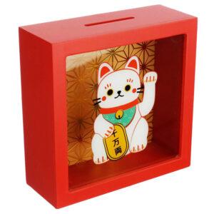 Salvadanaio in legno con gatto maneki