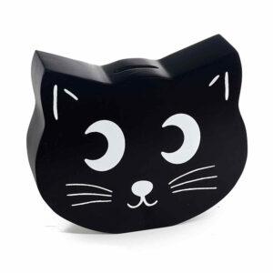 Salvadanaio in legno nero a forma di musetto di gatto