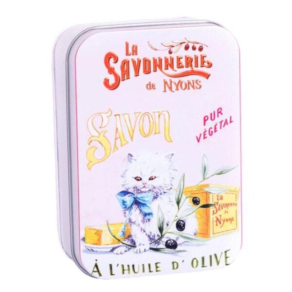 Saponetta ai fiori di cotone 200g in scatola di latta con gattino chiusa