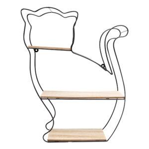 Scaffale in metallo e legno a forma di gatto