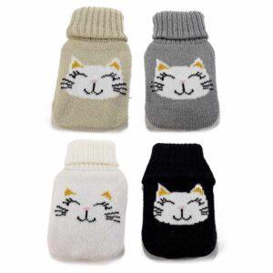 Scaldamani con copertura in maglia decorata con un musetto di gatto