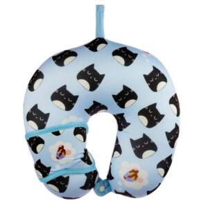 Set cuscino e mascherina da viaggio con gattino nero