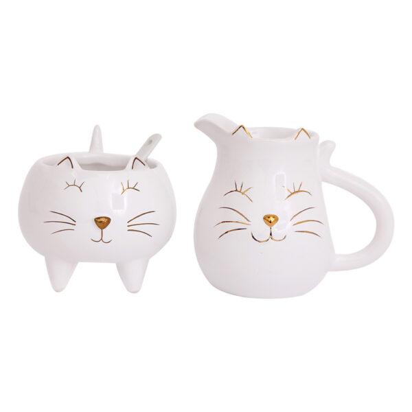 Set latte e zucchero in ceramica a forma di gatto