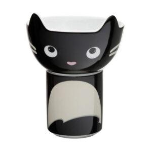 Set scodella e tazza a forma di gatto nero