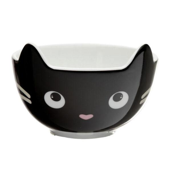 Set scodella e tazza a forma di gatto nero, solo scodella