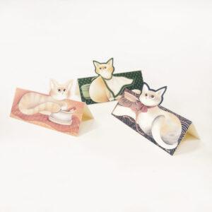 Set segnaposto in cartoncino con i gatti della Gatteria di Evelyne Nicod