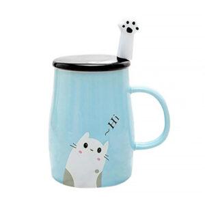 Set tazza, coperchio e cucchiaino con gattino