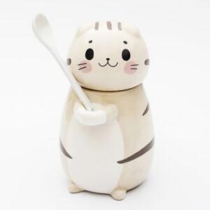 Set tazza e cucchiaino a forma di gatto bianco
