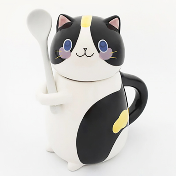 Set tazza e cucchiaino a forma di gatto bianco e nero