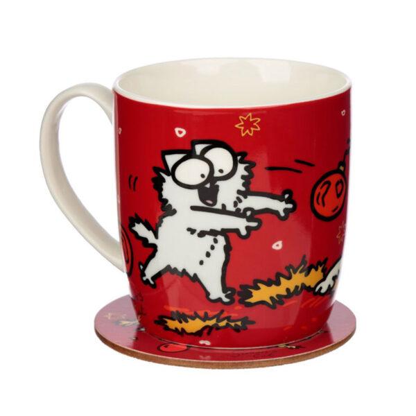 Set di tazza e sottobicchiere natalizia con il gatto di Simon's Cat, altro lato