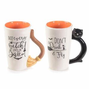 Set tazze di Halloween con gatto nero