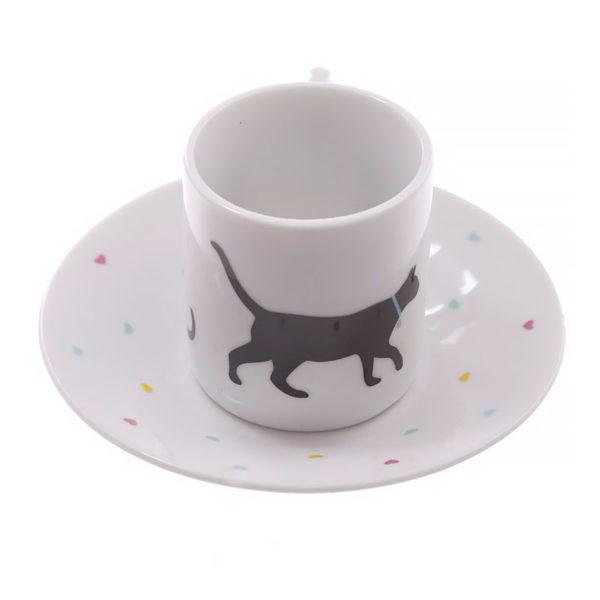 Set di due tazzine da espresso con gatti neri, fronte