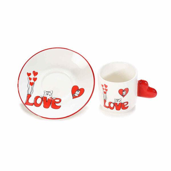 Set tazzine e piattini con gatti innamorati 02