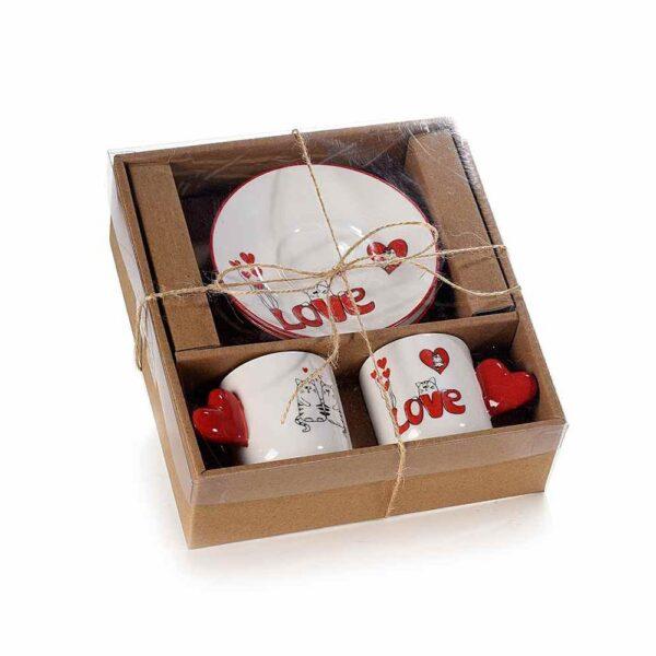 Set tazzine e piattini con gatti innamorati confezione regalo