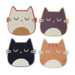 Set 4 sottobicchieri gatti colorati