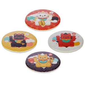 Set di 4 sottobicchieri con gatto maneki