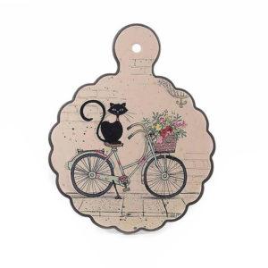 Sottopentola in ceramica con gatto Chat Noir su una bicicletta