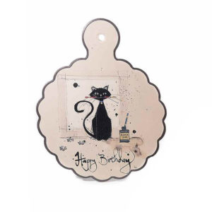 Sottopentola in ceramica con gatto Chat Noir con scritta buon compleanno