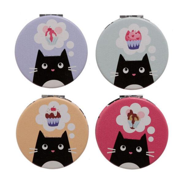 Specchietti da borsa colorati con gattini neri