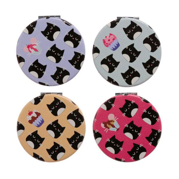 Specchietti da borsa colorati con gattini neri, retro