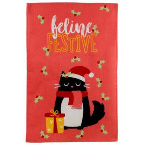Strofinaccio da cucina natalizio con gatto nero fronte