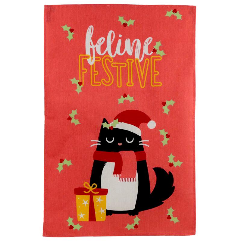 Strofinaccio da cucina natalizio con gatto nero