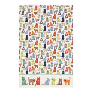 Strofinaccio in cotone con gatti colorati
