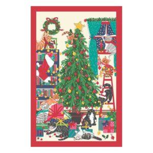 Strofinaccio natalizio con gatti e albero di Natale