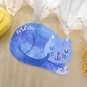 Tappetino a forma di gatto azzurro