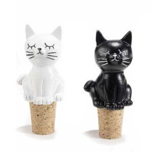 Tappo in sughero con gatto in resina colorata