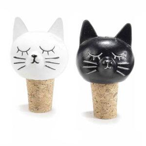 Tappo in sughero con musetto di gatto in resina colorata
