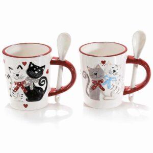 Tazza in ceramica gatti innamorati con fiocchetti
