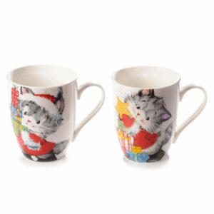 Tazza in ceramica con gattino natalizio