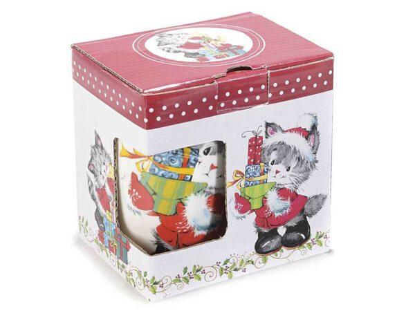 Tazza in ceramica con gattino natalizio, scatola