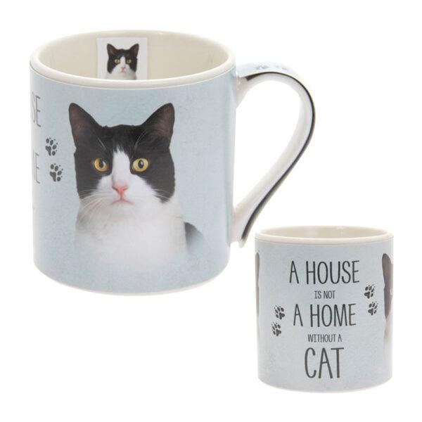 Tazza in ceramica con gatto bianco e nero
