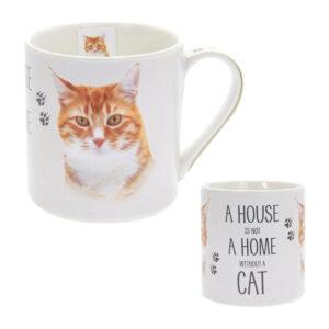 Tazza in ceramica con gatto rosso